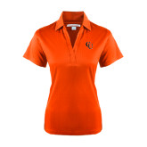 Ladies Orange Performance Fine Jacquard Polo-CU