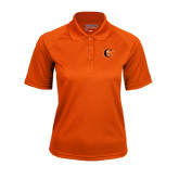Ladies Orange Textured Saddle Shoulder Polo-Campbell Official Logo