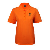 Ladies Easycare Orange Pique Polo-Campbell Official Logo