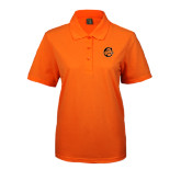 Ladies Easycare Orange Pique Polo-C w/ Camel Head