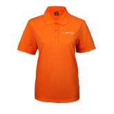Ladies Easycare Orange Pique Polo-Campbell Flat