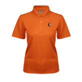 Ladies Orange Dry Mesh Polo-Campbell Official Logo