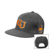 Charcoal Flat Bill Snapback Hat-Interlockin CU