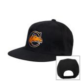 Black Flat Bill Snapback Hat-C w/ Camel Head