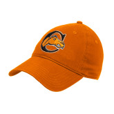 Orange Twill Unstructured Low Profile Hat-C w/ Camel Head
