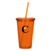 Madison Double Wall Orange Tumbler w/Straw 16oz-Campbell Official Logo