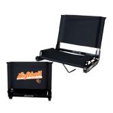 Stadium Chair Black-Softball Script w/ Bat Design