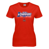 Big West Ladies Red T Shirt-Big West Champions 2016 CSUN Mens Soccer