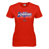 Big West Ladies Red T Shirt-Big West Champions 2016 CSUN Womens Soccer
