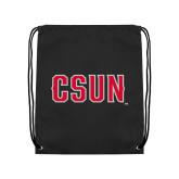 Black Drawstring Backpack-CSUN