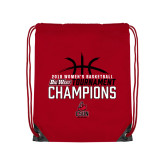 Red Drawstring Backpack-2018 Womens Basketball Champions - Stacked w/ Basketball