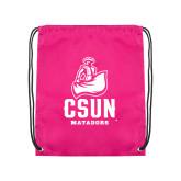 Pink Drawstring Backpack-CSUN Matador