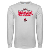 White Long Sleeve T Shirt-2018 Womens Basketball Champions - Brush