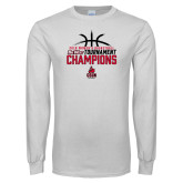White Long Sleeve T Shirt-2018 Womens Basketball Champions - Stacked w/ Basketball