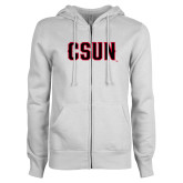 ENZA Ladies White Fleece Full Zip Hoodie-CSUN