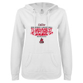 ENZA Ladies White V Notch Raw Edge Fleece Hoodie-2018 Womens Basketball Champions - Brush