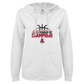 ENZA Ladies White V Notch Raw Edge Fleece Hoodie-2018 Womens Basketball Champions - Stacked w/ Basketball