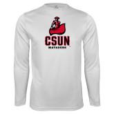 Performance White Longsleeve Shirt-CSUN Matador