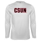 Performance White Longsleeve Shirt-CSUN