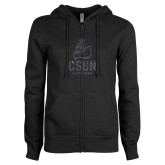 ENZA Ladies Black Fleece Full Zip Hoodie-CSUN Matador Graphite Glitter
