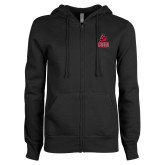 ENZA Ladies Black Fleece Full Zip Hoodie-CSUN Matador