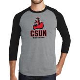 Grey/Black Tri Blend Baseball Raglan-CSUN Matador