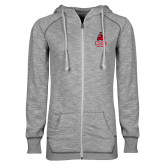 ENZA Ladies Grey/Black Marled Full Zip Hoodie-CSUN Matador