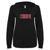 ENZA Ladies Black V Notch Raw Edge Fleece Hoodie-CSUN