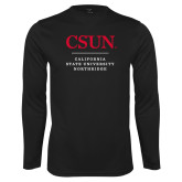 Performance Black Longsleeve Shirt-Institutional Logo Stacked