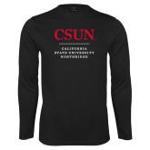 Performance Black Longsleeve Shirt-Institutional Logo Stacked