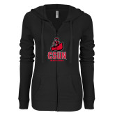 ENZA Ladies Black Light Weight Fleece Full Zip Hoodie-CSUN Matador