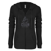 ENZA Ladies Black Light Weight Fleece Full Zip Hoodie-CSUN Matador Graphite Glitter