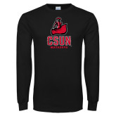 Black Long Sleeve T Shirt-CSUN Matador Distressed