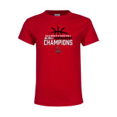 Youth Red T Shirt-2018 Womens Basketball Champions - Stacked w/ Basketball