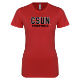Next Level Ladies SoftStyle Junior Fitted Red Tee-Basketball