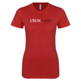 Next Level Ladies SoftStyle Junior Fitted Red Tee-Institutional Logo Flat