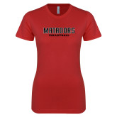 Next Level Ladies SoftStyle Junior Fitted Red Tee-Matadors Volleyball