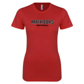 Next Level Ladies SoftStyle Junior Fitted Red Tee-Matadors Softball