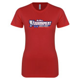 Next Level Ladies SoftStyle Junior Fitted Red Tee-Big West Champions 2017 Womens Soccer