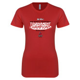 Next Level Ladies SoftStyle Junior Fitted Red Tee-2018 Womens Basketball Champions - Brush