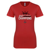 Next Level Ladies SoftStyle Junior Fitted Red Tee-2018 Womens Basketball Champions - Stacked w/ Basketball