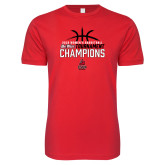 Next Level SoftStyle Red T Shirt-2018 Womens Basketball Champions - Stacked w/ Basketball
