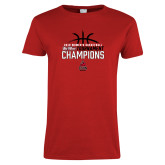 Ladies Red T Shirt-2018 Womens Basketball Champions - Stacked w/ Basketball