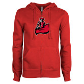 ENZA Ladies Red Fleece Full Zip Hoodie-Matador