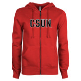 ENZA Ladies Red Fleece Full Zip Hoodie-CSUN