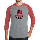 Grey/Red Heather Tri Blend Baseball Raglan-CSUN Matador