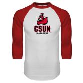 White/Red Raglan Baseball T Shirt-CSUN Matador