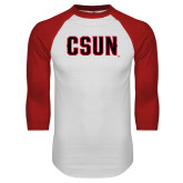 White/Red Raglan Baseball T Shirt-CSUN