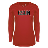 Ladies Syntrel Performance Red Longsleeve Shirt-CSUN