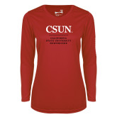 Ladies Syntrel Performance Red Longsleeve Shirt-Institutional Logo Stacked